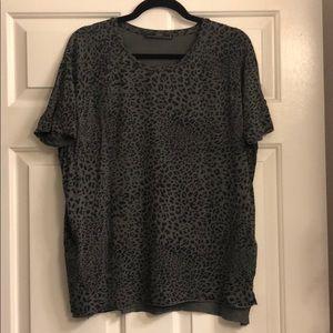 Leopard print gray soft Zara top
